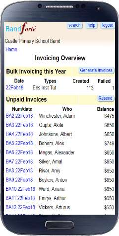 Invoicing overview page