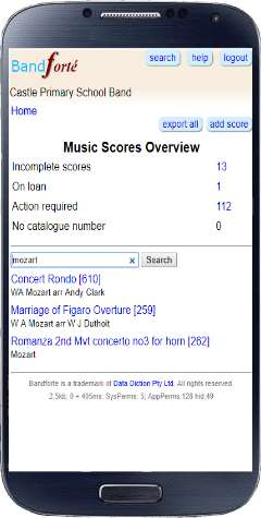 Overview of musical scores page